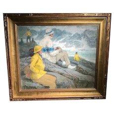 Watching Surf Monhegan by Edmund F Ward