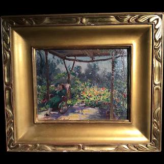 Rocking In The Garden by Gaston Jules Louis Durel