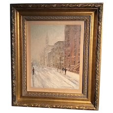 Snow Scene New York by American artist John Caggiano