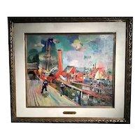 The Wharf Gloucester by American artist Nicolai Cikovsky