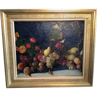 Fruit Still Life by American artist Henry George Keller.  1869to1949