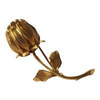 Monet gold tone rose bud brooch