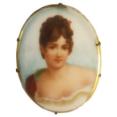 Handpainted pretty brunette porcelain brooch