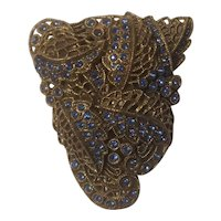 Brass and blue rhinestone dress clip