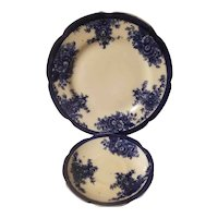 Mellor and Co flow blue plate and saucer