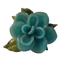 Lucite and enamel flower brooch