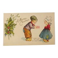 Dutch children christmas themed postcard