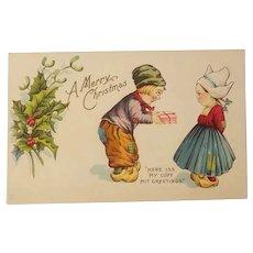 Dutch children christmas themed postcard