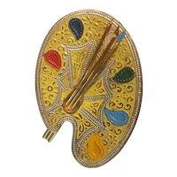 Enameled artist's palette brooch