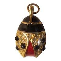 Gold tone, rhinestone and enamel beetle pendant