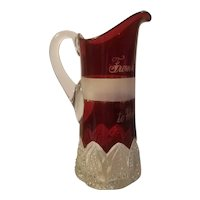 Large ruby stain water pitcher