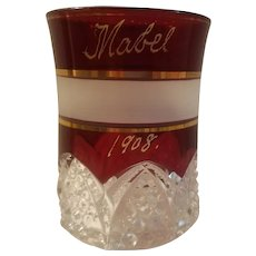 Ruby stain tumbler dated 1908