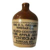 Stoneware mini jug advertising O L Gregory apple juice vinegar