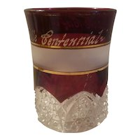 Ruby stain pattern glass tumbler dated 1908