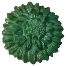 Green slag glass covered dresser box