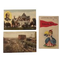 3 Lincoln Nebraska postcards
