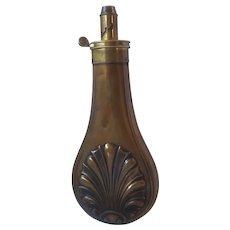 19th Century brass powder flask