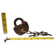 C RI & P railroad padlock with key