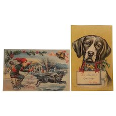 2 Early 20th century Christmas postcards