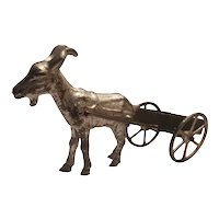 Antique toy cast iron and tin goat cart