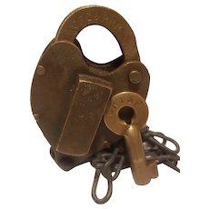 Brass C RI & P Railroad padlock with brass key