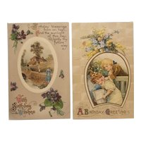 2 Early 20th century birthday postcards
