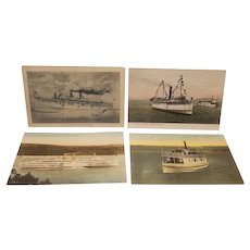 Set of postcards depicting steamships