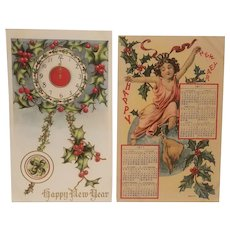 2 Early 20th century new year's postcards