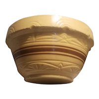 Brown band, molded design, stoneware bowl