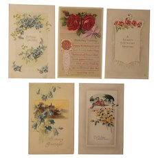 5 Early 20th century birthday posrcards