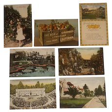 7 California themed early 20th century postcards