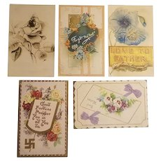 5 Early 20th century postcards with flowers