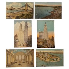 6 antique New York City postcards