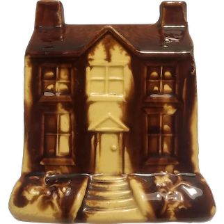 19th Century yellowware house bank with rockingham drip glaze