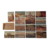 Collection of 14 postcards with world views