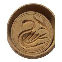 Swan design wood butter mold