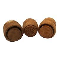 3 Miniature wood butter molds