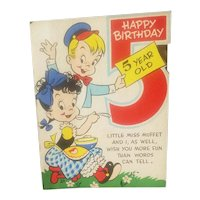 Little Miss Muffet themed birthday card dated 1949
