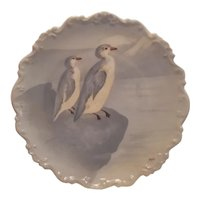 Hand painted Limoges plate with penguins
