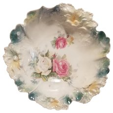 R S Prussia carnation mold bowl with roses