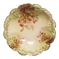Porcelain bowl with acorn and leaf design and gold transfer border