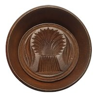 Antique wheat design wood butter mold patent 1866