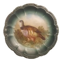 Bavaria porcelain plate with hand painted partridge