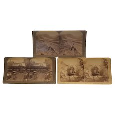 3 Real photo stereoview cards with a rail transportation theme