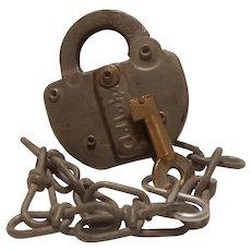 C RI & P railroad padlock with key