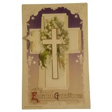 Easter greetings mechanical postcard copyrighted 1910