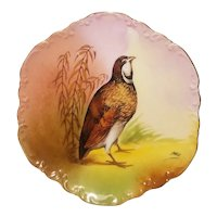Hand painted Limoges plate with partridge