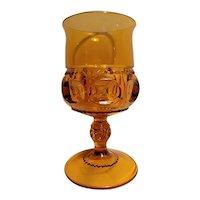 Kings crown pattern amber glass goblet