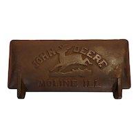Antique cast iron John Deere tractor tool box lid