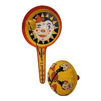Tin litho clown theme noisemakers signed Kirchhof